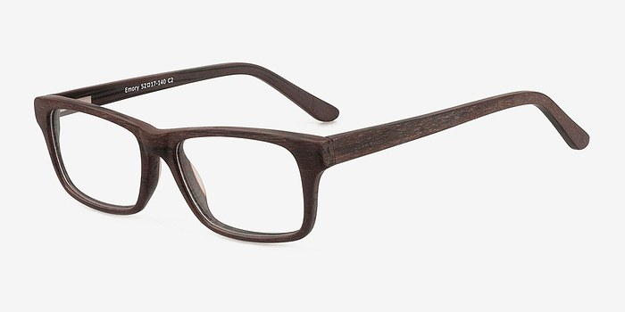 EyeBuyDirect Emory Coffee Wood Texture Eyeglasses