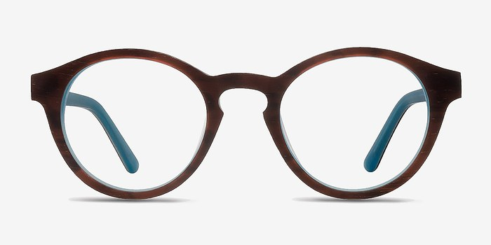 Brown Blue  Dreamy -  Wood Texture Eyeglasses
