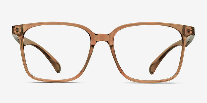 Clear Brown Blocks -  Plastic Eyeglasses