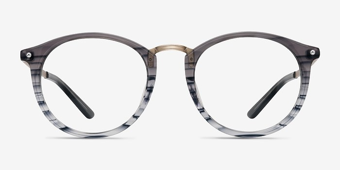 Gray Striped La Femme -  Designer Acetate Eyeglasses