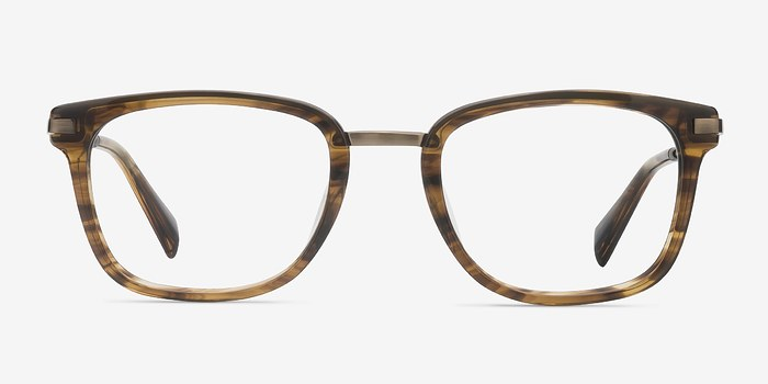 Brown Striped Audacity -  Designer Acetate Eyeglasses