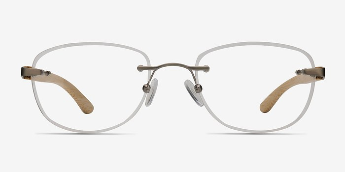 Silver Yellow Potential -  Lightweight Wood Texture Eyeglasses