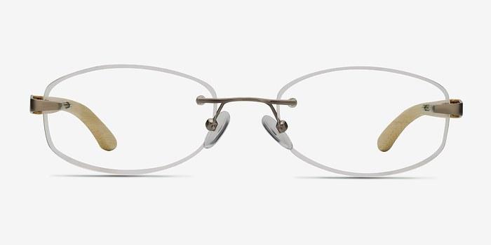 Silver Yellow Duel -  Lightweight Wood Texture Eyeglasses