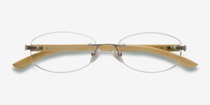 Rimless Glasses Dublin : Duel Silver Yellow Wood Texture Eyeglasses EyeBuyDirect