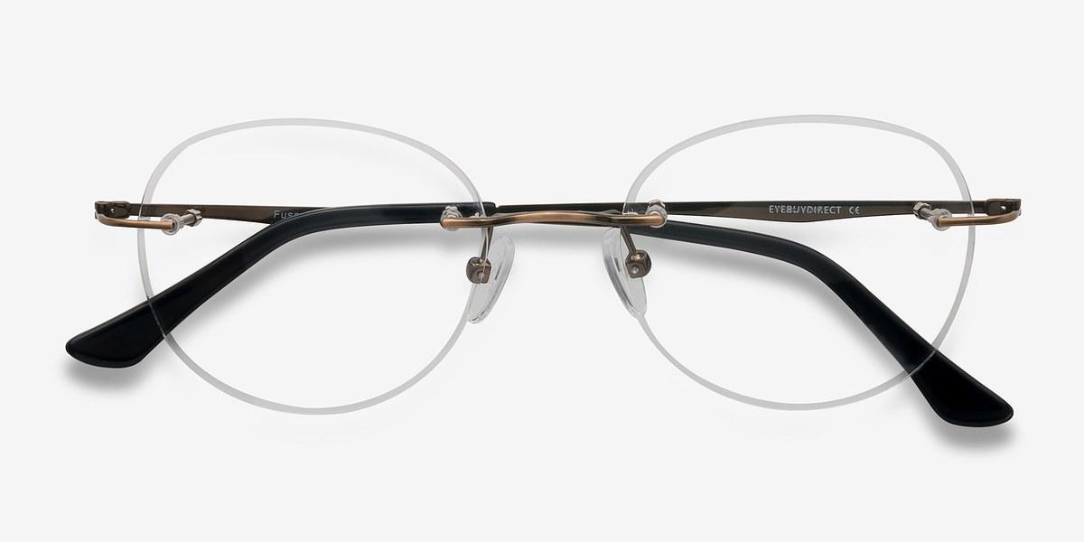 Rimless Glasses Melbourne : Fuse Bronze Metal Eyeglasses EyeBuyDirect