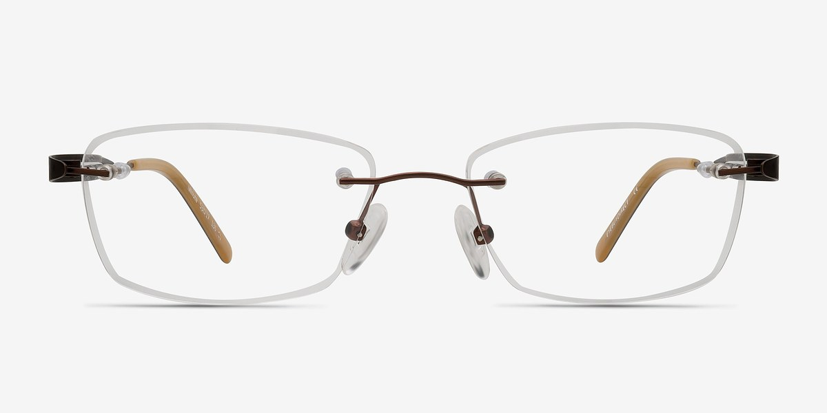 Rimless Glasses Melbourne : Minute Brown Women Metal Eyeglasses EyeBuyDirect