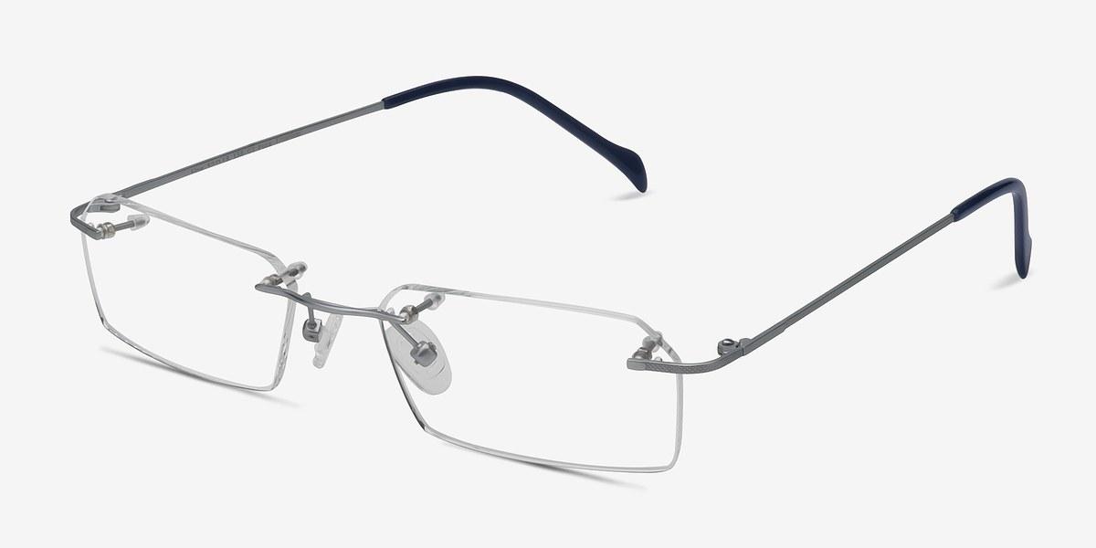 Rimless Glasses Melbourne : Floe Silver Titanium Eyeglasses EyeBuyDirect