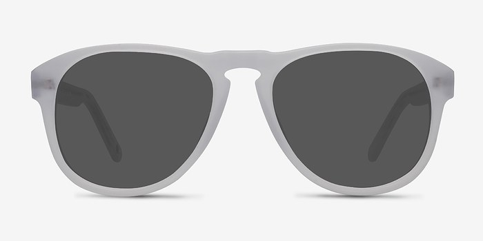 Matte Clear Phased -  Acetate Sunglasses