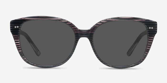Gray Striped  Lune Noire -  Acetate Sunglasses