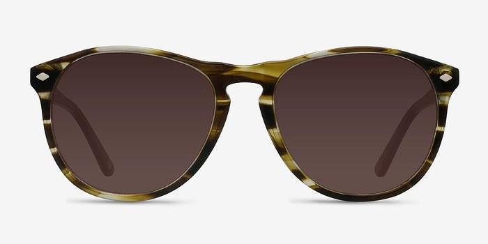 Brown Striped  Deep End -  Acetate Sunglasses