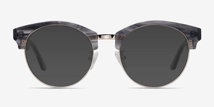 Gray Striped Starlet -  Acetate Sunglasses