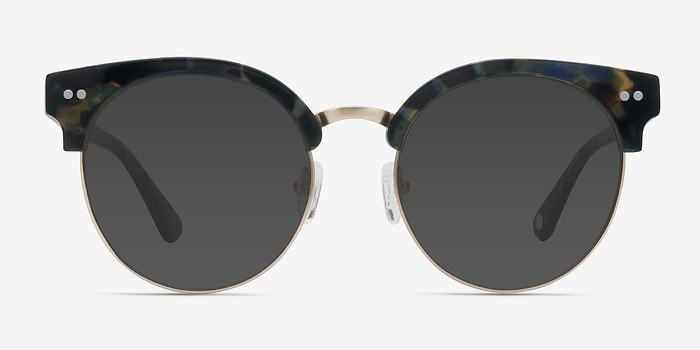 Blue Floral Silicate -  Acetate Sunglasses