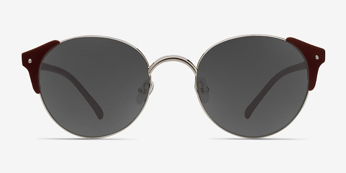 Silver Burgundy Miaou -  Metal Sunglasses