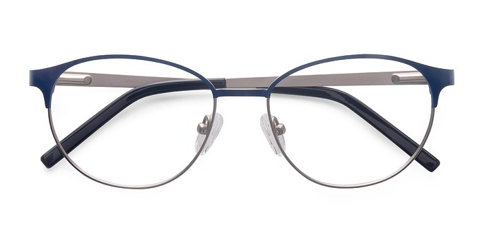 Navy Silver Mamba -  Fashion Metal Eyeglasses