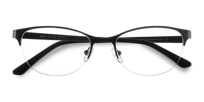 Matte Black Melody -  Metal Eyeglasses