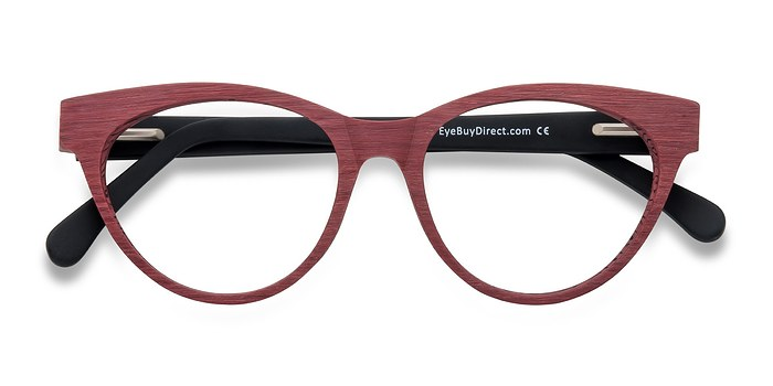 Matte Red Jane Birkin -  Fashion Wood Texture Eyeglasses