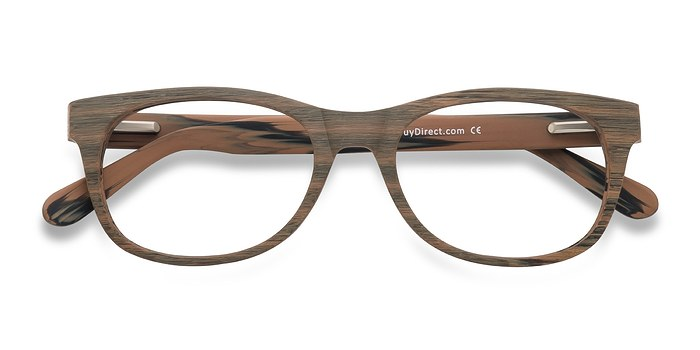 Brown/Striped Panama -  Fashion Wood Texture Eyeglasses