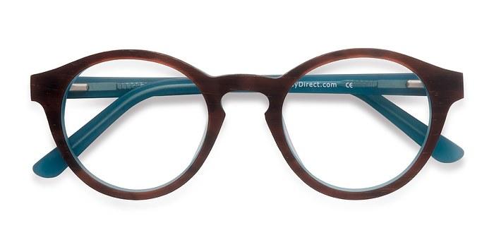 Brown Blue  Dreamy -  Wood Texture Eyeglasses