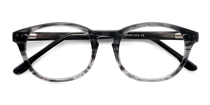 Gray Striped Little Things -  Fashion Acetate Eyeglasses