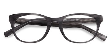 Gray Striped Confidence -  Fashion Acetate Eyeglasses