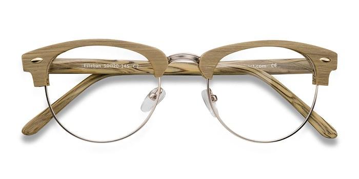 Yellow Esteban -  Fashion Wood Texture Eyeglasses