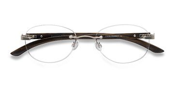 Silver Brown Fragment -  Lightweight Eyeglasses