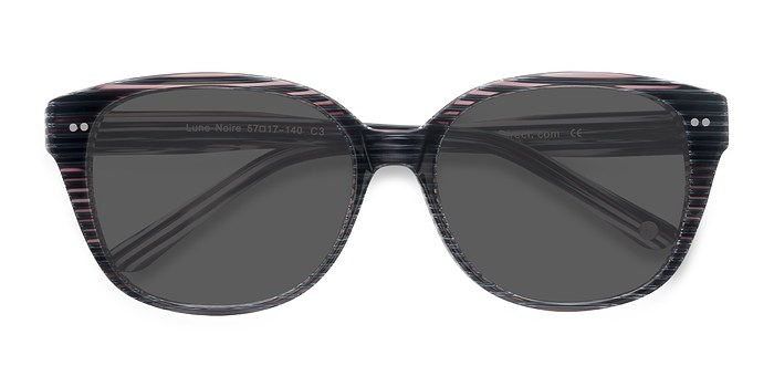 Gray Striped  Lune Noire -  Acetate Sunglasses