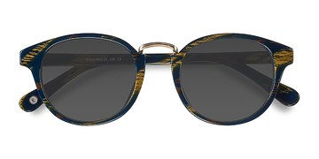 Blue Striped Major -  Acetate Sunglasses