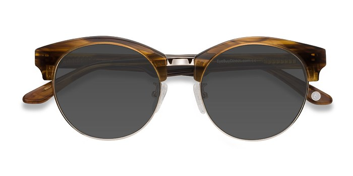 Brown Striped Starlet -  Acetate Sunglasses