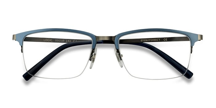Matte Blue Logic -  Metal Eyeglasses