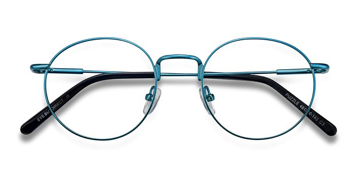 Blue Puzzle -  Metal Eyeglasses