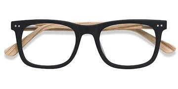 Matte Black Montreal -  Fashion Wood Texture Eyeglasses