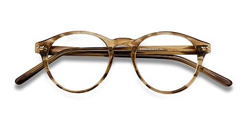 Brown striped Method -  Vintage Acétate Lunettes de Vue