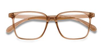 Clear Brown Blocks -  Plastic Eyeglasses