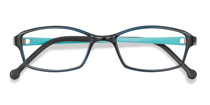 Clear Navy Glitch -  Plastic Eyeglasses