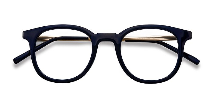 Navy Chance -  Classic Metal Eyeglasses