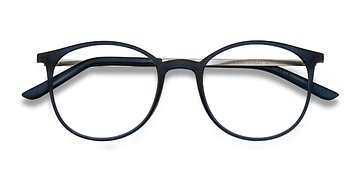 Navy Tangent -  Metal Eyeglasses
