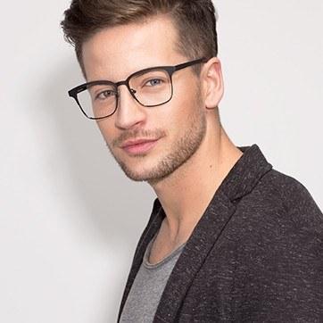 Matte Black Intense -  Fashion Metal Eyeglasses - model image