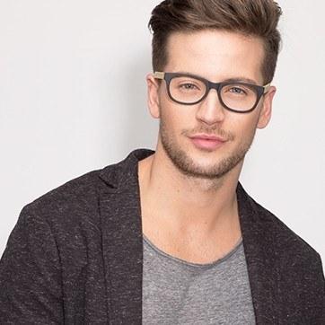 Black Panama -  Geek Wood Texture Eyeglasses - model image