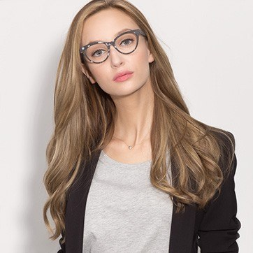 Gray Jane Birkin -  Fashion Wood Texture Eyeglasses - model image