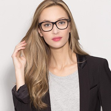 Black Almost Famous -  Classic Acetate Eyeglasses - model image