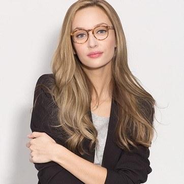 Tortoise Jade -  Fashion Acetate Eyeglasses - model image