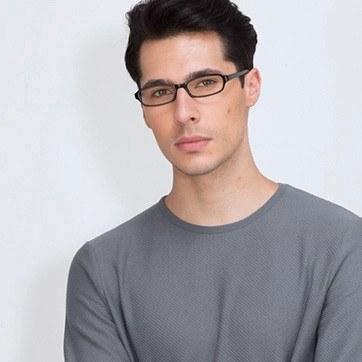 Black  Adept -  Classic Plastic Eyeglasses - model image
