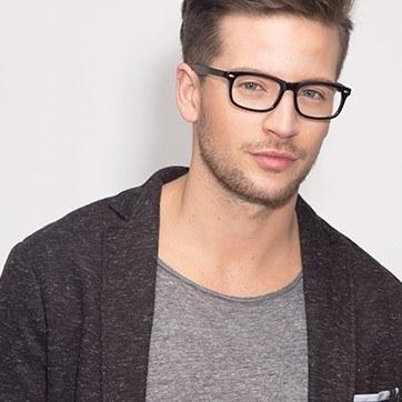 Black Birmingham -  Classic Acetate Eyeglasses - model image