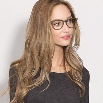 Matte Green Sahara -  Fashion Plastic Eyeglasses - model image