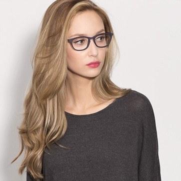 Navy Valentin -  Fashion Acetate Eyeglasses - model image