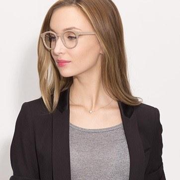 Beige Breeze -  Classic Wood Texture Eyeglasses - model image