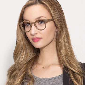 Brown Breeze -  Classic Wood Texture Eyeglasses - model image