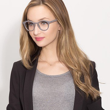 Gray Breeze -  Colorful Wood Texture Eyeglasses - model image