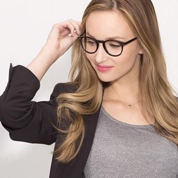 Black  Kyoto -  Geek Acetate Eyeglasses - model image